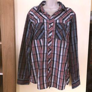 CARBON cotton/poly plaid button down shirt/ML